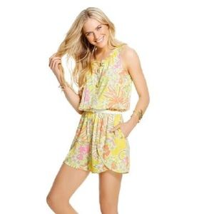 Lilly Pulitzer Challis Happy Place Yellow Romper